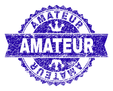 AMATEUR rosette stamp seal imprint with grunge style. Designed with round rosette, ribbon and small crowns. Blue vector rubber print of AMATEUR caption with grunge style. Illustration