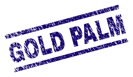 GOLD PALM seal print with scratced style. Blue vector rubber print of GOLD PALM text with scratched texture. Text caption is placed between parallel lines.