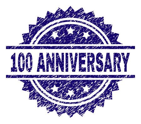 100 ANNIVERSARY stamp seal watermark with distress style. Blue vector rubber print of 100 ANNIVERSARY label with dirty texture.