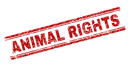 ANIMAL RIGHTS seal print with grunge texture. Red vector rubber print of ANIMAL RIGHTS caption with retro texture. Text caption is placed between double parallel lines. 일러스트