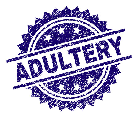 ADULTERY stamp seal watermark with distress style. Blue vector rubber print of ADULTERY caption with dirty texture. Illustration