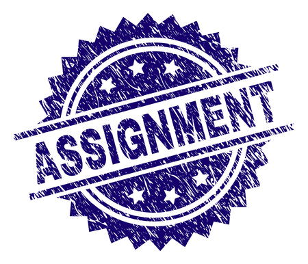 ASSIGNMENT stamp seal watermark with distress style. Blue vector rubber print of ASSIGNMENT caption with dirty texture.