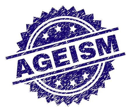 AGEISM stamp seal watermark with distress style. Blue vector rubber print of AGEISM title with dust texture.
