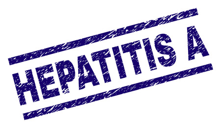 HEPATITIS A seal imprint with grunge style. Blue vector rubber print of HEPATITIS A title with corroded texture. Text title is placed between parallel lines.