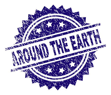 AROUND THE EARTH stamp seal watermark with distress style. Blue vector rubber print of AROUND THE EARTH title with corroded texture.