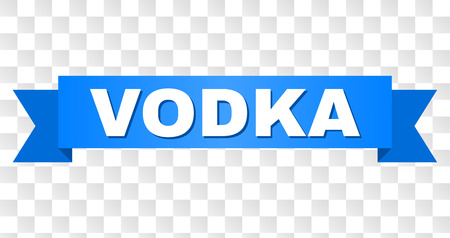 VODKA text on a ribbon. Designed with white title and blue stripe. Vector banner with VODKA tag on a transparent background.