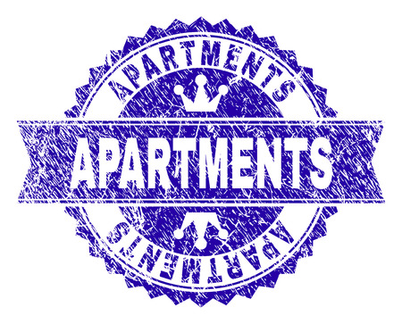 APARTMENTS rosette stamp imprint with distress texture. Designed with round rosette, ribbon and small crowns. Blue vector rubber watermark of APARTMENTS tag with scratched texture.