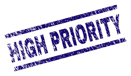 HIGH PRIORITY seal print with distress style. Blue vector rubber print of HIGH PRIORITY text with scratched texture. Text label is placed between parallel lines.