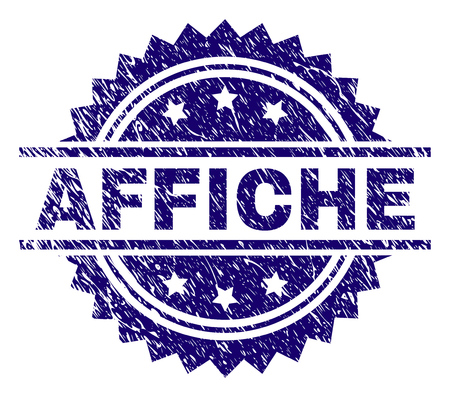 AFFICHE stamp seal watermark with distress style. Blue vector rubber print of AFFICHE title with retro texture. Vecteurs