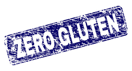 ZERO GLUTEN stamp seal print with grunge texture. Seal shape is a rounded rectangle with frame. Blue vector rubber print of ZERO GLUTEN text with grunge style.