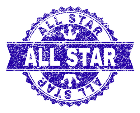 ALL STAR rosette stamp seal imitation with grunge texture. Designed with round rosette, ribbon and small crowns. Blue vector rubber watermark of ALL STAR caption with grunge style.