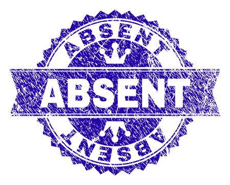 ABSENT rosette seal watermark with distress style. Designed with round rosette, ribbon and small crowns. Blue vector rubber watermark of ABSENT tag with dirty style. 向量圖像