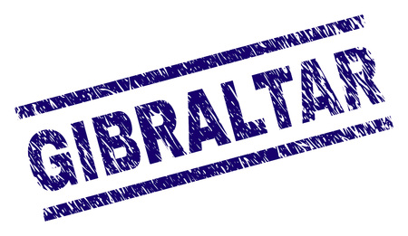 GIBRALTAR seal print with scratced style. Blue vector rubber print of GIBRALTAR title with grunge texture. Text title is placed between parallel lines.