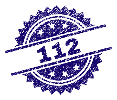 112 stamp seal watermark with distress style. Blue vector rubber print of 112 label with corroded texture.