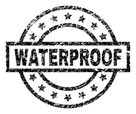 WATERPROOF stamp seal watermark with distress style. Designed with rectangle, circles and stars. Black vector rubber print of WATERPROOF text with dirty texture. Ilustração
