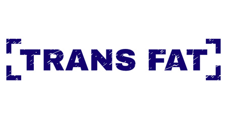 TRANS FAT label seal print with distress texture. Text label is placed inside corners. Blue vector rubber print of TRANS FAT with retro texture. 일러스트