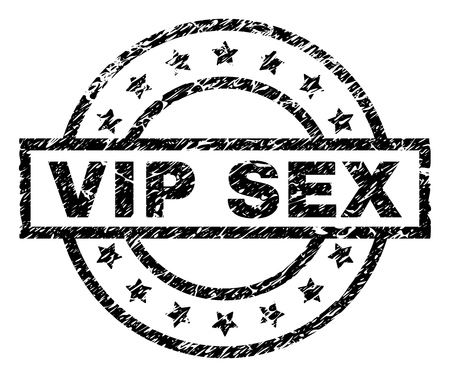 VIP SEX stamp seal watermark with distress style. Designed with rectangle, circles and stars. Black vector rubber print of VIP SEX text with grunge texture.