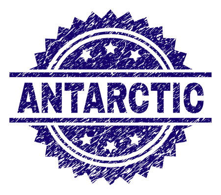 ANTARCTIC stamp seal watermark with distress style. Blue vector rubber print of ANTARCTIC label with grunge texture.