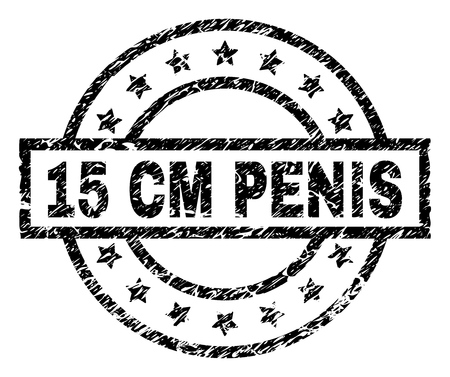 15 CM PENIS stamp seal watermark with distress style. Designed with rectangle, circles and stars. Black vector rubber print of 15 CM PENIS tag with dirty texture.