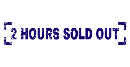 2 HOURS SOLD OUT caption seal imprint with grunge style. Text caption is placed inside corners. Blue vector rubber print of 2 HOURS SOLD OUT with grunge texture.
