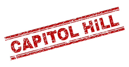 CAPITOL HILL seal print with grunge texture. Red vector rubber print of CAPITOL HILL tag with grunge texture. Text caption is placed between double parallel lines.