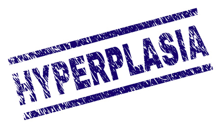 HYPERPLASIA seal print with distress style. Blue vector rubber print of HYPERPLASIA tag with scratched texture. Text tag is placed between parallel lines.