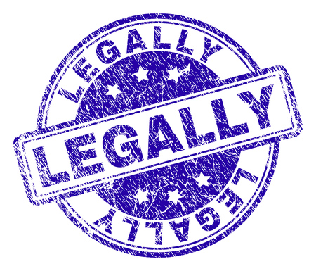 LEGALLY stamp seal imprint with grunge effect. Designed with rounded rectangles and circles. Blue vector rubber print of LEGALLY title with grunge texture.