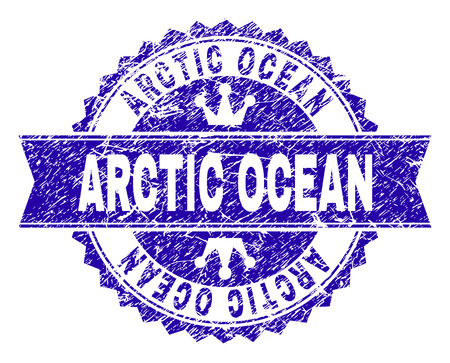 ARCTIC OCEAN rosette stamp seal watermark with distress style. Designed with round rosette, ribbon and small crowns. Blue vector rubber watermark of ARCTIC OCEAN label with unclean style.  イラスト・ベクター素材