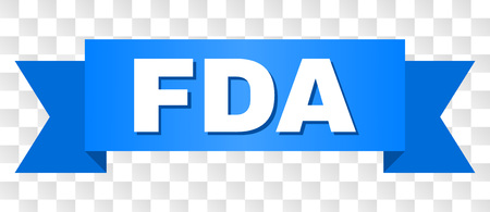 FDA text on a ribbon. Designed with white caption and blue stripe. Vector banner with FDA tag on a transparent background.