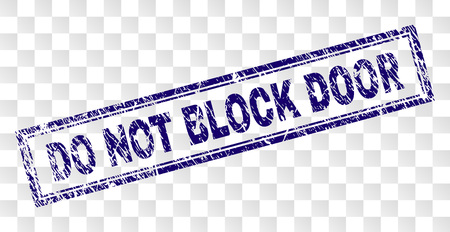 DO NOT BLOCK DOOR stamp seal print with rubber print style and double framed rectangle shape. Stamp is placed on a transparent background.