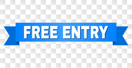 FREE ENTRY text on a ribbon. Designed with white caption and blue stripe. Vector banner with FREE ENTRY tag on a transparent background. Иллюстрация
