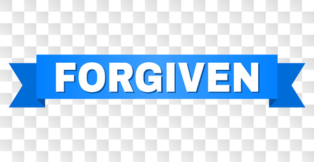 FORGIVEN text on a ribbon. Designed with white title and blue stripe. Vector banner with FORGIVEN tag on a transparent background. Illustration