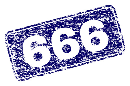 666 stamp seal print with distress style. Seal shape is a rounded rectangle with frame. Blue vector rubber print of 666 title with dirty style.