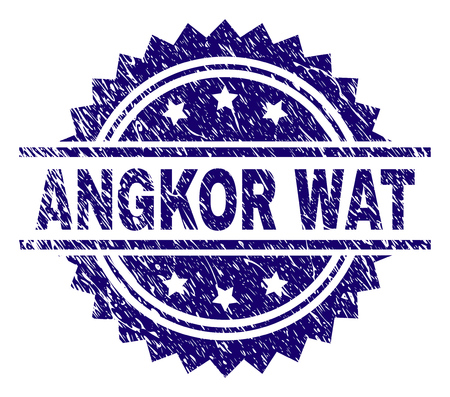 ANGKOR WAT stamp seal watermark with distress style. Blue vector rubber print of ANGKOR WAT title with corroded texture.