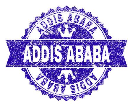 ADDIS ABABA rosette stamp watermark with grunge texture. Designed with round rosette, ribbon and small crowns. Blue vector rubber print of ADDIS ABABA tag with grunge texture. Illustration