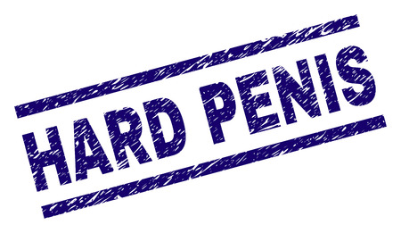 HARD PENIS seal print with distress style. Blue vector rubber print of HARD PENIS text with dust texture. Text tag is placed between parallel lines. Illustration
