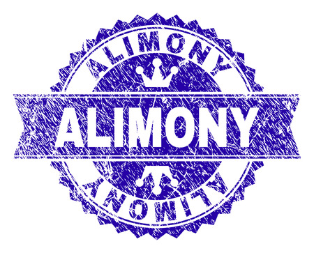 ALIMONY rosette seal watermark with distress style. Designed with round rosette, ribbon and small crowns. Blue vector rubber watermark of ALIMONY tag with grunge style.