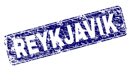 REYKJAVIK stamp seal imprint with grunge style. Seal shape is a rounded rectangle with frame. Blue vector rubber print of REYKJAVIK caption with grunge style. 일러스트