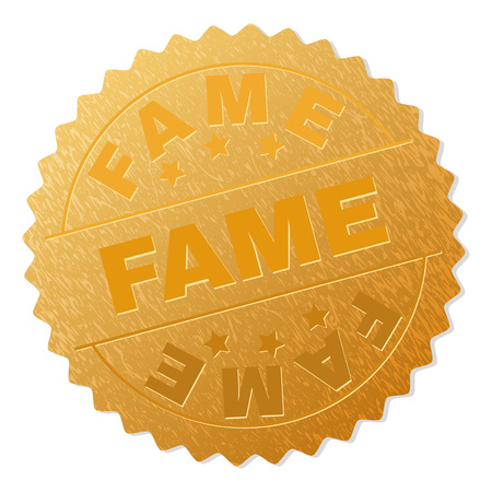 FAME gold stamp reward. Vector gold award with FAME text. Text labels are placed between parallel lines and on circle. Golden area has metallic texture. Illustration