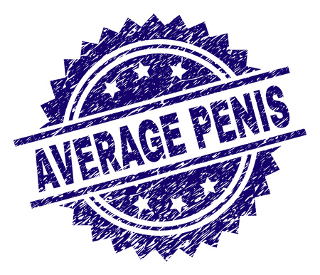 AVERAGE PENIS stamp seal watermark with distress style. Blue vector rubber print of AVERAGE PENIS text with unclean texture.