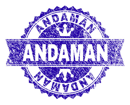 ANDAMAN rosette stamp seal imprint with distress texture. Designed with round rosette, ribbon and small crowns. Blue vector rubber print of ANDAMAN title with retro texture.