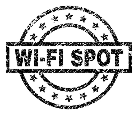 WIFI SPOT stamp seal watermark with distress style. Designed with rectangle, circles and stars. Black vector rubber print of WIFI SPOT text with corroded texture.