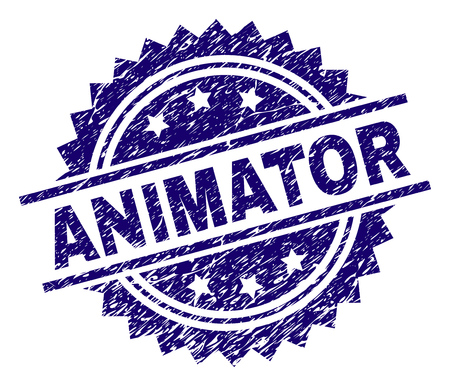 ANIMATOR stamp seal watermark with distress style. Blue vector rubber print of ANIMATOR label with corroded texture.