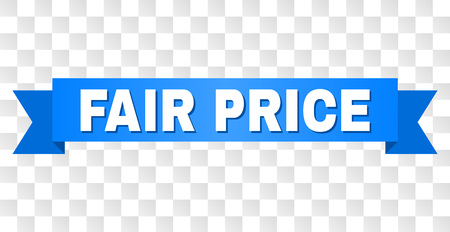 FAIR PRICE text on a ribbon. Designed with white caption and blue stripe. Vector banner with FAIR PRICE tag on a transparent background.