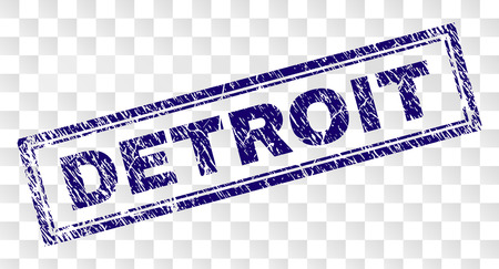 DETROIT stamp seal print with rubber print style and double framed rectangle shape. Stamp is placed on a transparent background. Blue vector rubber print of DETROIT tag with dirty texture. 일러스트