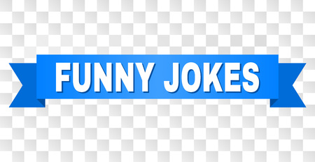 FUNNY JOKES text on a ribbon. Designed with white title and blue stripe. Vector banner with FUNNY JOKES tag on a transparent background.