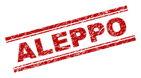 ALEPPO seal watermark with distress effect. Red vector rubber print of ALEPPO text with retro texture. Text caption is placed between double parallel lines.