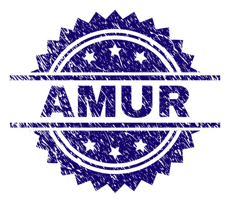AMUR stamp seal watermark with distress style. Blue vector rubber print of AMUR label with scratched texture. Foto de archivo - 126840990