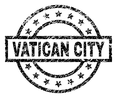 VATICAN CITY stamp seal watermark with distress style. Designed with rectangle, circles and stars. Black vector rubber print of VATICAN CITY tag with grunge texture.