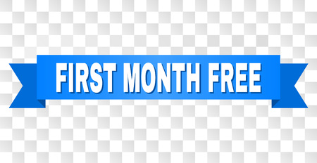 FIRST MONTH FREE text on a ribbon. Designed with white title and blue stripe. Vector banner with FIRST MONTH FREE tag on a transparent background. Banque d'images - 126841004